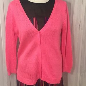 👗 ZARA Knit Cardigan Sweater (L) Hot Pink!